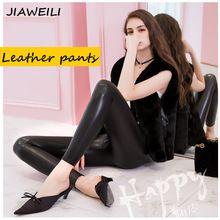 JIANWEILI 2017 moda elástico delgado invierno mujeres calientes del terciopelo de imitación de cuero pantalones leggings mujer altura PU pantalones de cintura(China)