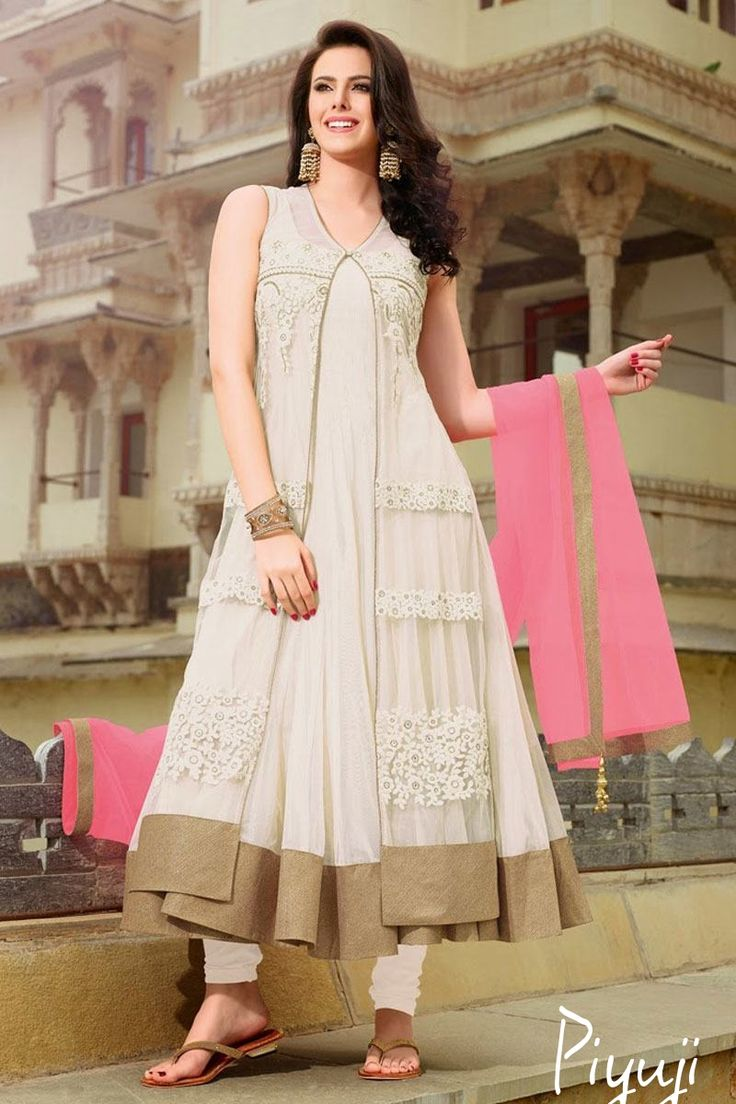 white and pink duppta stylish celebrity gown look full length salwar suit