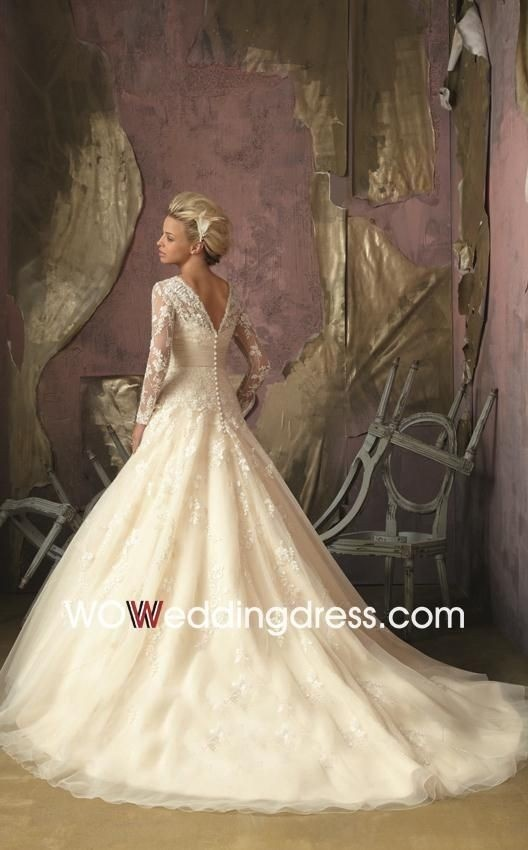 fitted ballgown wedding dress with lace and sleeves, but I would like it better with a skirt that is not so full