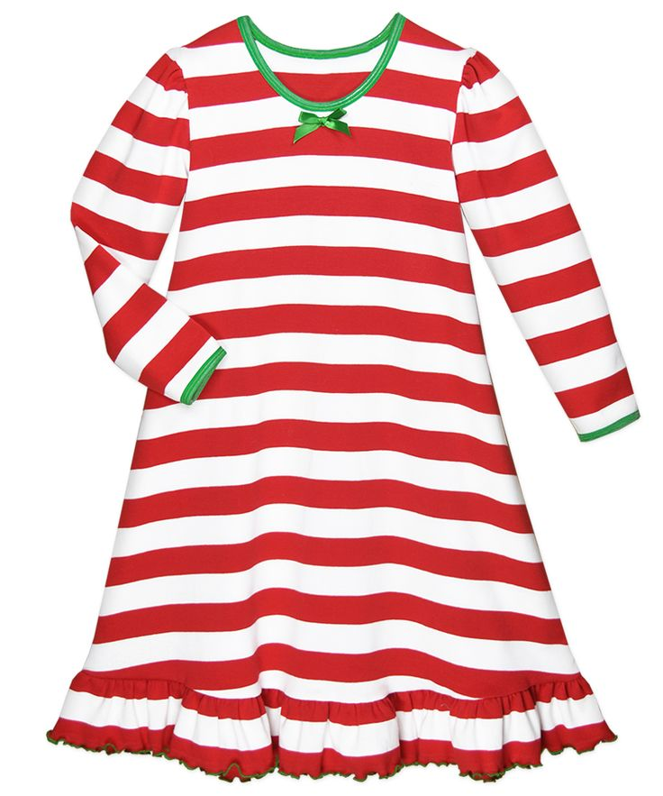 Sara's Prints Girls Red / White Candy Cane Stripes Christmas Nightgown