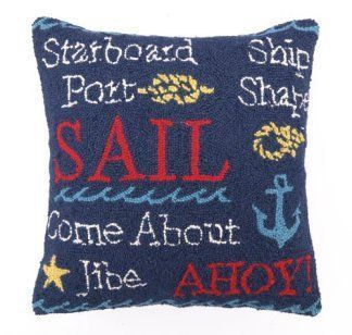 If you love spending time at the ocean and relaxing on the beach consider getting some fun, cute and trendy nautical throw pillows. A nautical home decor theme is a great way to bring the sea to you. You can place these beautiful coastal accent pillows on couches or beds. Additionally you can place them on arm chairs and even benches. You will find that nautical throw pillows work well in beach home decor, coastal home decor and even trop Peking Handicraft Nautical Sail Hook Throw Pillow -
