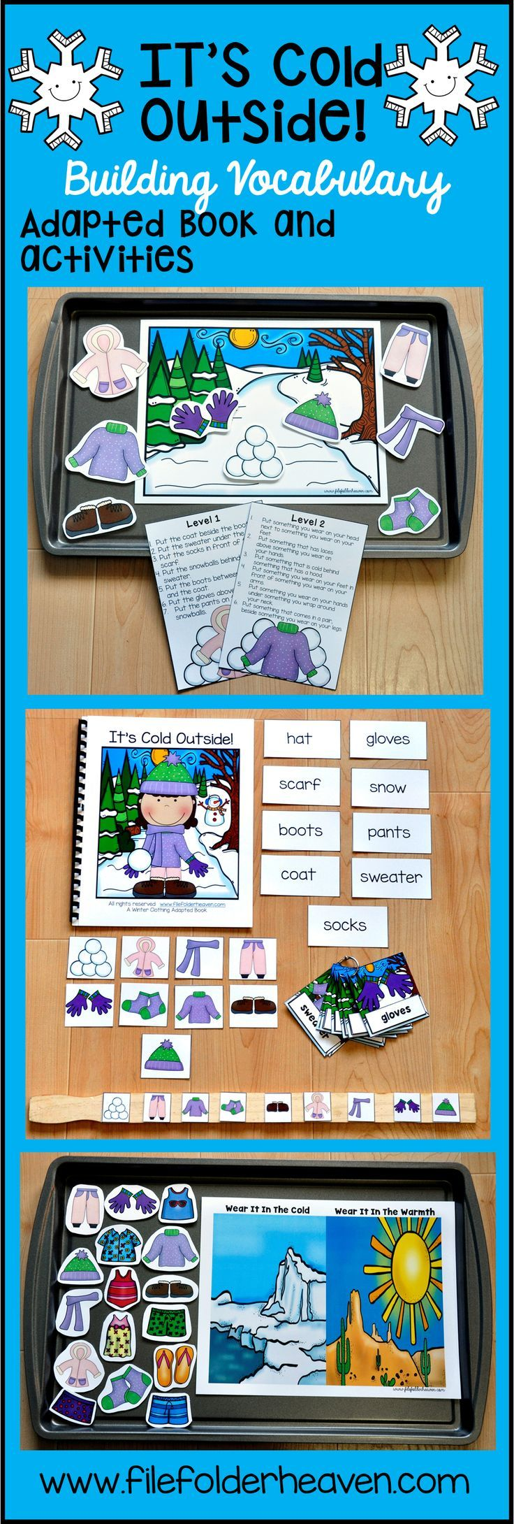 """This Winter Adapted Book and Vocabulary Activities has now been UPDATED! The """"It's Cold Outside"""" Adapted Book and Vocabulary Activities focuses on winter clothing vocabulary words. This download includes 1 adapted book, 1 sequencing stick activity, 1 sorting/classification activity, 1 positional concepts activity, and 1 set of vocabulary labeling cards."""