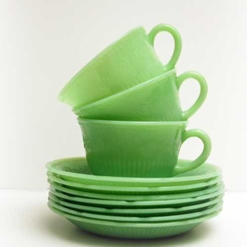 jadeiteGreen Coffee, Cottage Chic, Teas Cups, Shabby Chic, Cottages Chic, Green Teas, Tea Cups, Vintage Green, Shabby Cottages