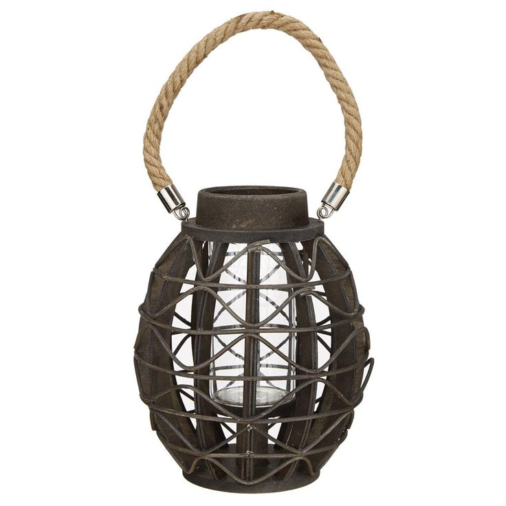 Wooden Lantern with Rope Handle