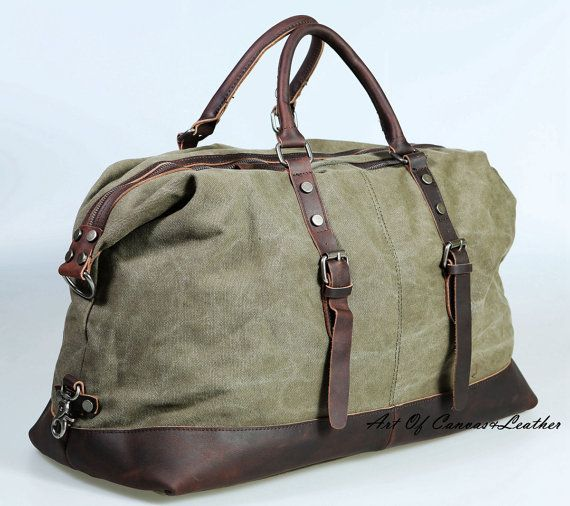 "21"" Larger Men Canvas Leather Weekender bag / retro overnight bag / military duffle duffel bag / leather travel bag Luggage"