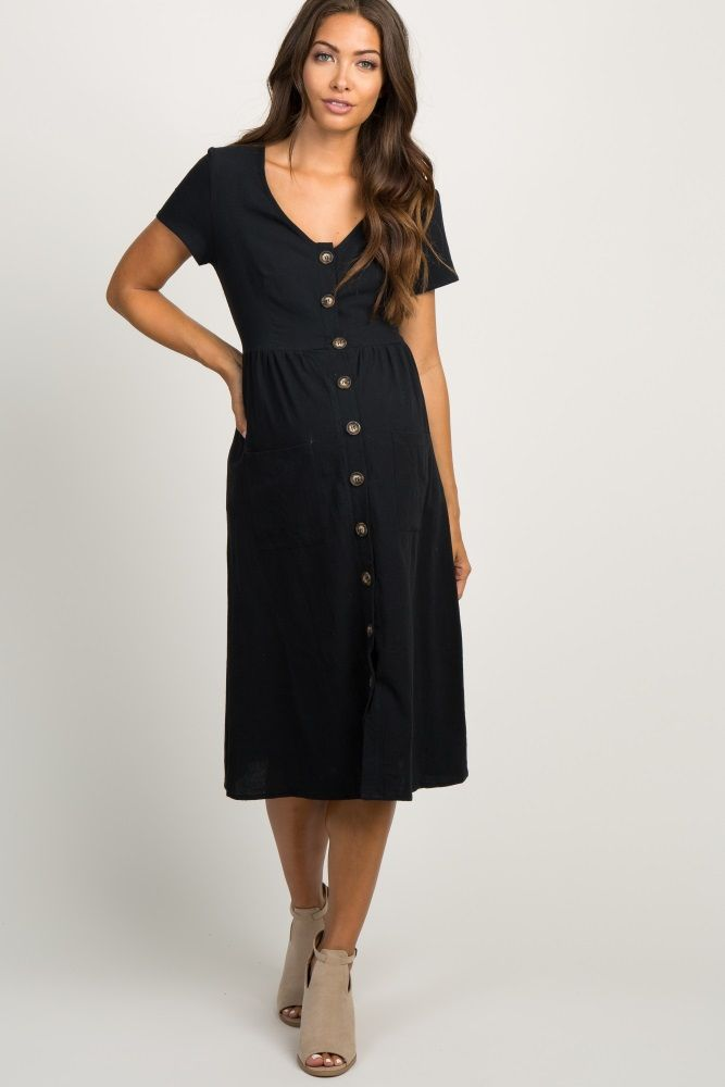 1d2dfc612282 Black Button Front Maternity Midi Dress in 2019 | Baby Anderson ...