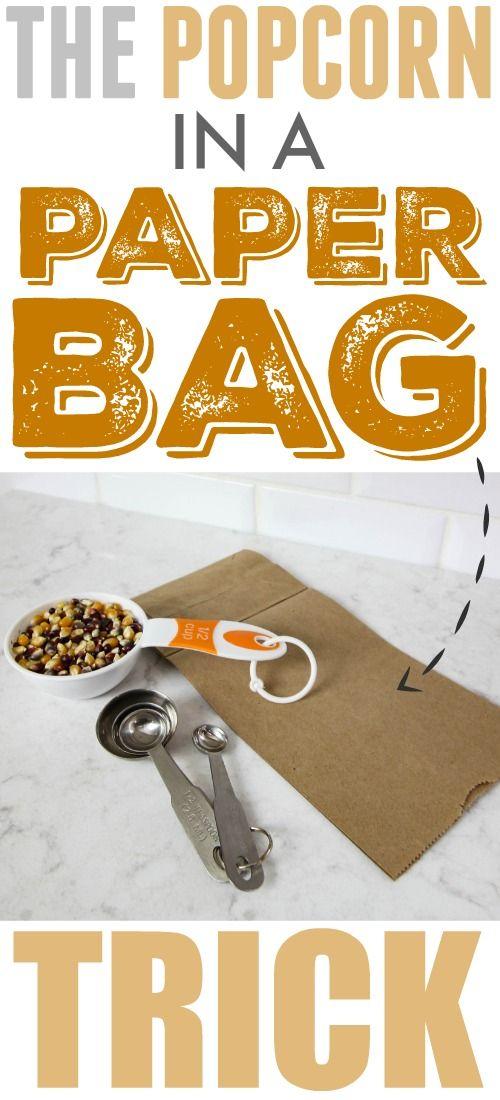 Fun trick for healthier DIY microwave popcorn using a plain paper bag!