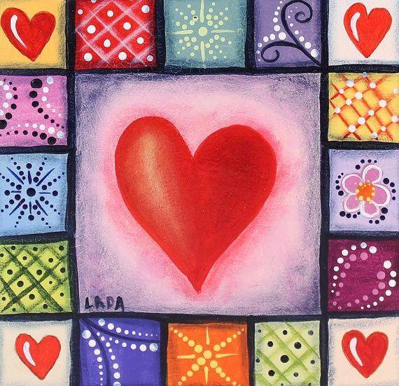 Heart Quilt -Love Art-Original Painting-Romantic Art -Gift for Wife-Girlfriend Gift-Heart Art-Anniversary Gift