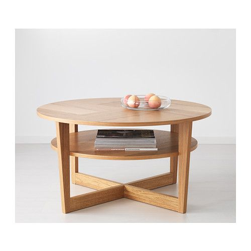 Vejmon Coffee Table Oak Veneer 90 Cm Stains Shelves And Magazines