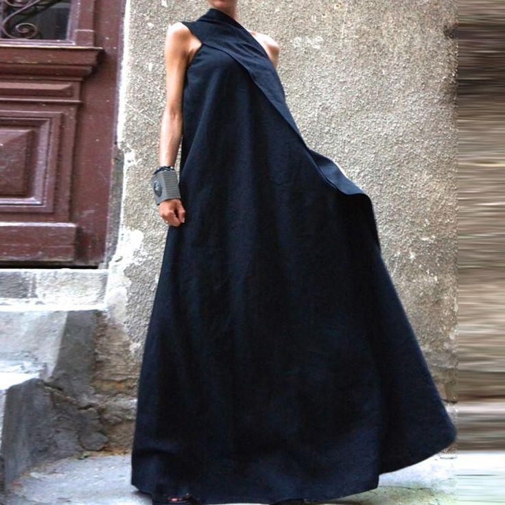 Платье макси одно плечо, лето стиль сексуальный женское платья дамы хлопок лён длинная накидка Vestidos купить на AliExpress