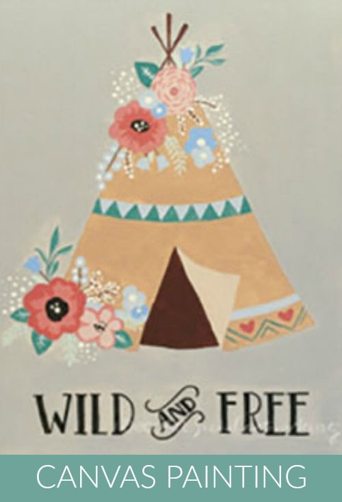 Social Artworking: Wild and Free | This teepee is bursting with colorful florals. The sentiment and design would be right at home in a teen or tween's bedroom. Further personalize this design by replacing the quote with a name. #socialartworking