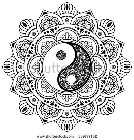 Vector henna tatoo mandala.Yin-yang decorative symbol. Mehndi style. Mehndi style. Decorative pattern in oriental style. Coloring book page.