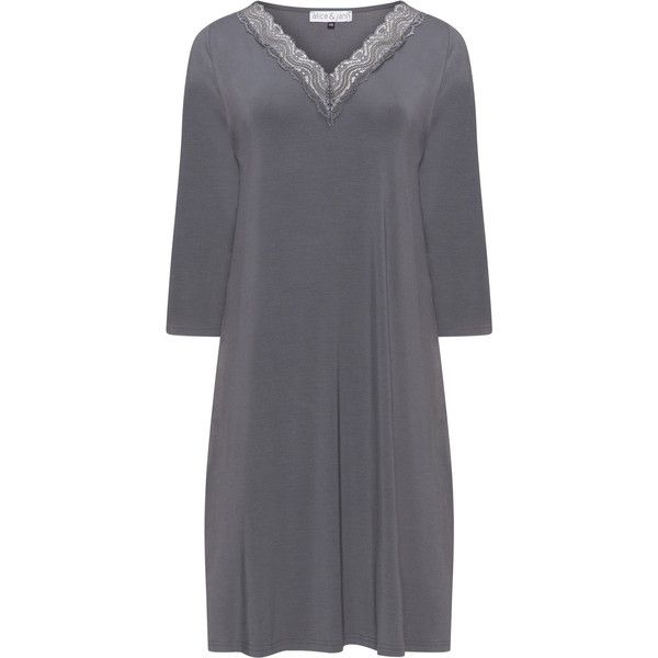 Alice und Jann Anthracite Plus Size Lace trim night dress ($105) ❤ liked on Polyvore featuring intimates, sleepwear, nightgowns, anthracite, plus size, lace nightie, plus size sleepwear, lace nightgown, plus size sleep gowns and women's plus size sleepwear