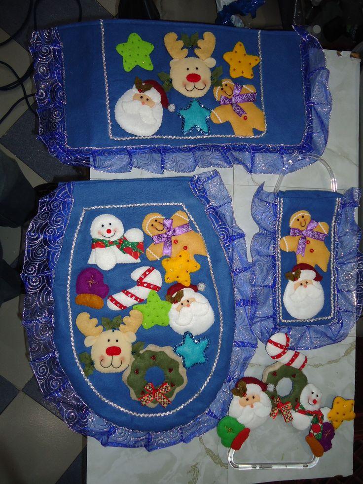 Set De Baño Navideno:juego de baño navideño