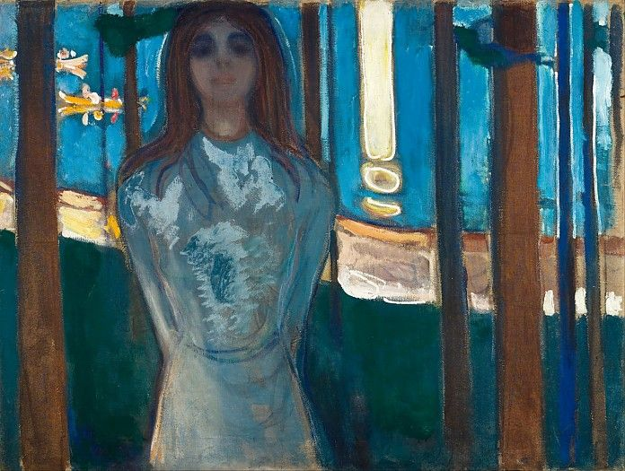 Edvard Munch, De stem (Zomernacht), 1896, olieverf op doek, 90 x 119.5 cm, Munch Museum, Oslo Informatie over dit schilderij: http://www.artsalonholland.nl/schilderijen-symbolisme/edvard-munch-de-stem-zomernacht
