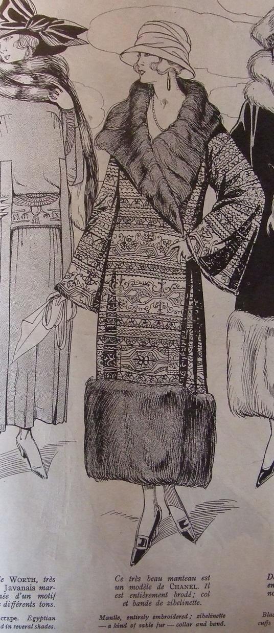 Chanel in 1921: fur-trimmed coat