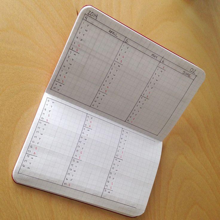 Field Notes 2014 Hand Drawn Calendar - Quarterly Calendar