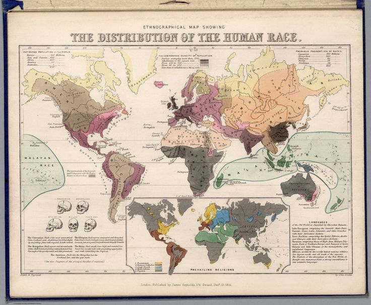 Ethnological map showing the distribution of the human race. On the bottom of the map, Emslie and Reynolds also show the distribution of prevailing religions, revealing that most of the globe remains 'pagan.'