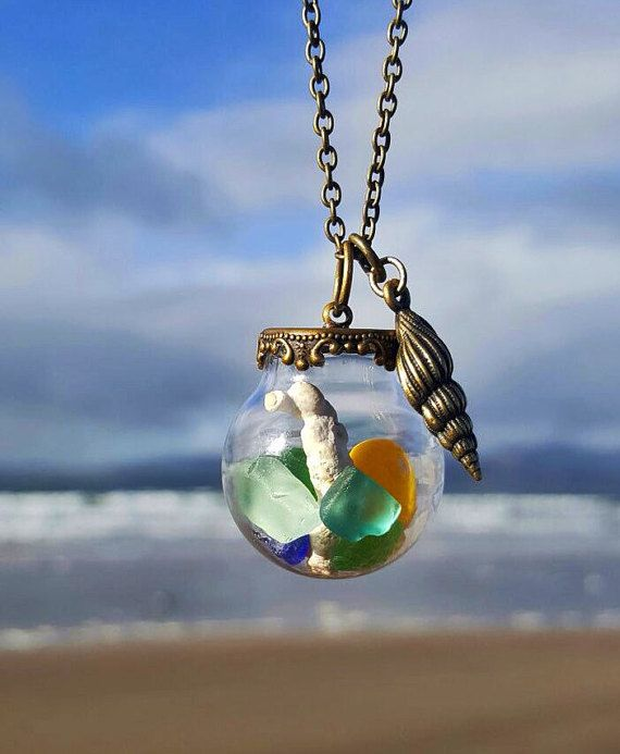 Glass Globe Sea Glass and Seashell Necklace by EveryoneLovesTheSea