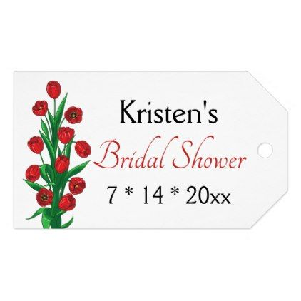 Floral Red Bridal Shower Tulips Spring Flowers Gift Tags - bridal shower gifts ideas wedding bride