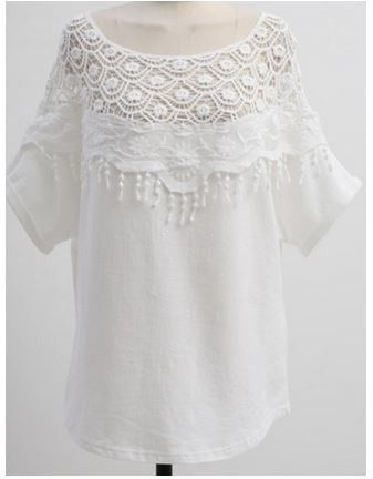 Cute Floral Crochet Lace Collar Blouse