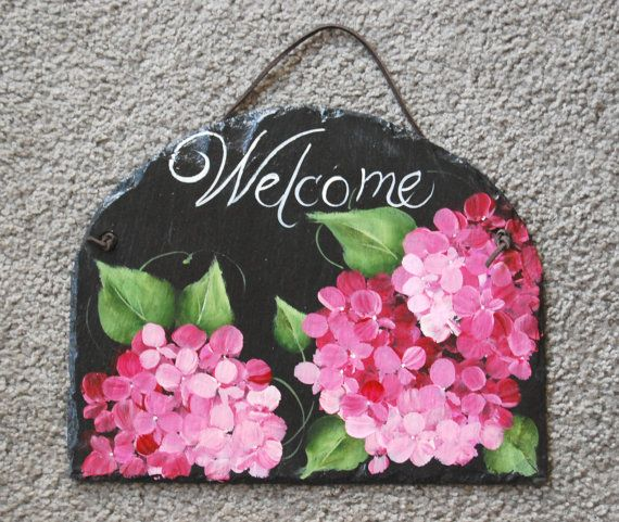Pink Hydrangea Welcome Slate by maureenbaker on Etsy, $32.00
