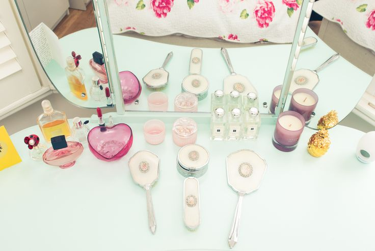 """This dressing table set was my late Nanny Peggy's. She was such a beautiful, feminine lady. She really embraced the glamour of being a woman so it is very special that I got to keep her mirrors and brushes. They have pride of place of my dressing table."""