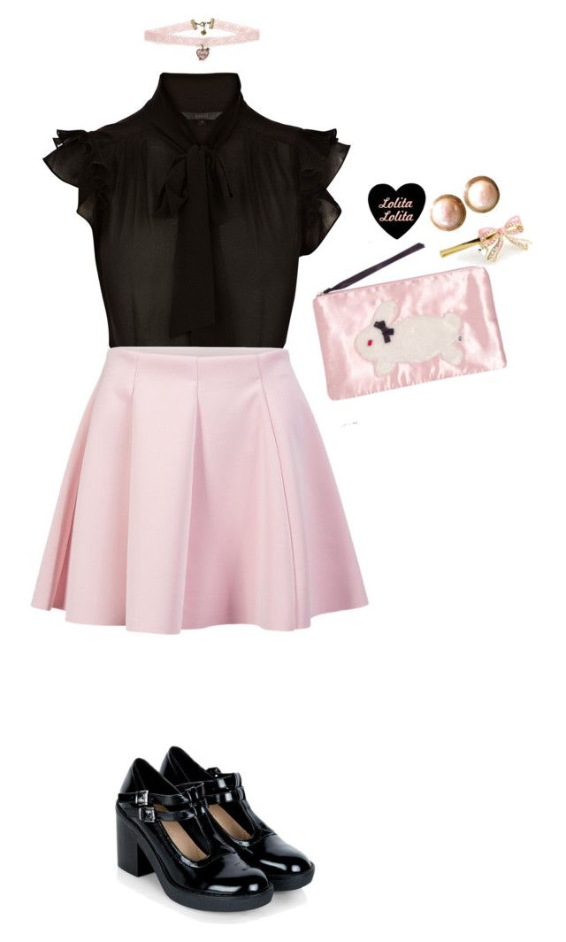 """""""Pink and Black Summer Larme Kei"""" by this-perfect-dream ❤ liked on Polyvore featuring Coast, ONLY, Chanel, Betsey Johnson, women's clothing, women's fashion, women, female, woman and misses"""