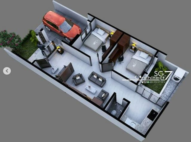2 Bedrooms Home Design Plan 6 5x14m Home Ideassearch Home Design Plan House Design Small House Floor Plans