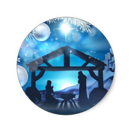 Nativity Christmas Abstract Background Classic Round Sticker - christmas craft supplies cyo merry xmas santa claus family holidays