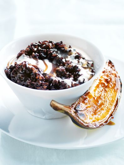 Black rice coconut pudding with caramelised bananas - SunRice