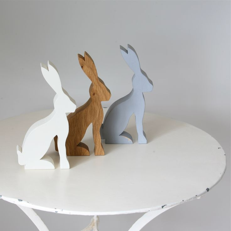 Hand painted and oiled wooden hare rabbit decorations