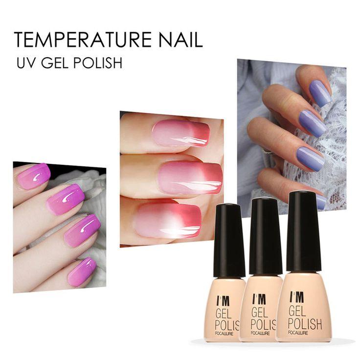 FOCALLURE Temperature Color Change UV Gel Polish Nail Art Varnish Manicure 7ml 30 Bright Colors