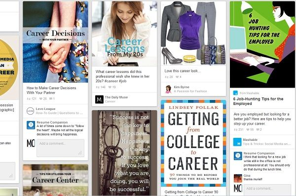"Check out how to use Pinterest in the job hunt (We're getting ""meta"" with a picture of Pinterest pins in a Pinterest pin - woah.)"