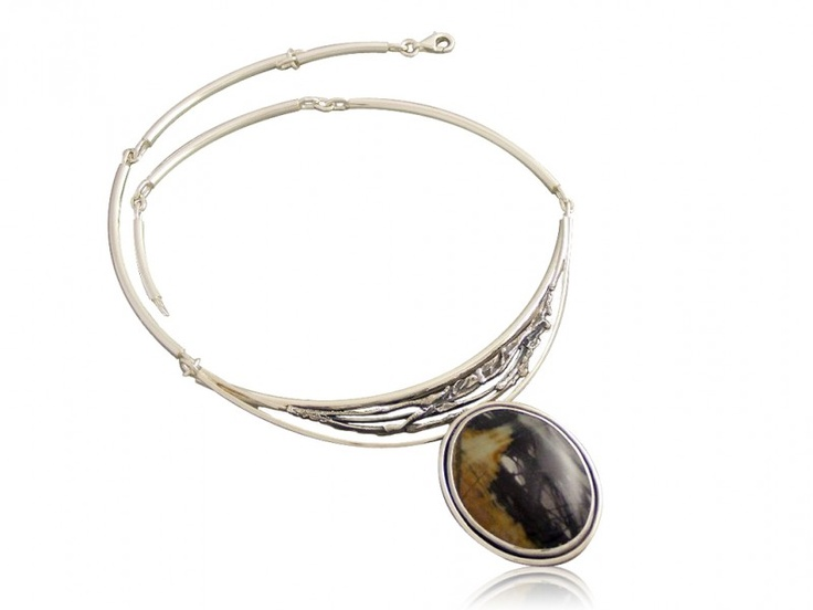 Silver handmade necklace with landscape jasper