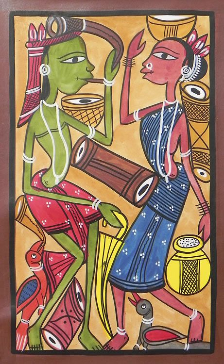 Tribal Folk of India - Bengal Folk Art or Kalighat Painting $46.00 only