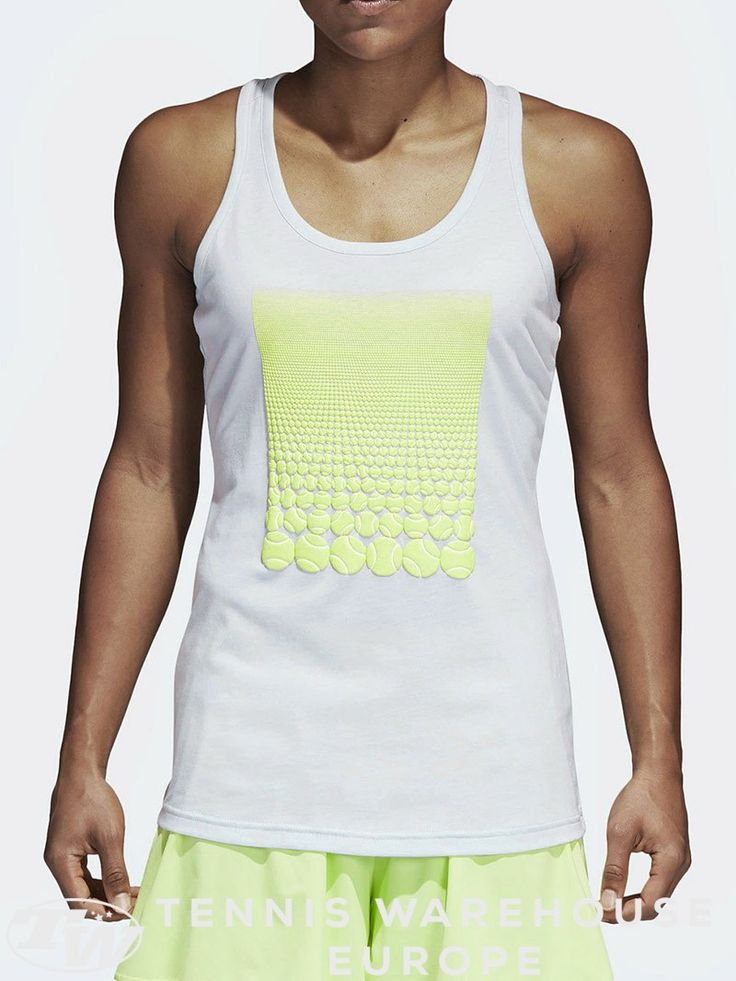 adidas Women's Spring Resort Tank Bring easy, casual style to the courts for your next hit or to your next session in the gym. This adidas Resort Tank features a scoop neck, racerback, and screen print graphic.  #tennis #tennisfashion #fashion #women #tenniswomen #adidas #tank