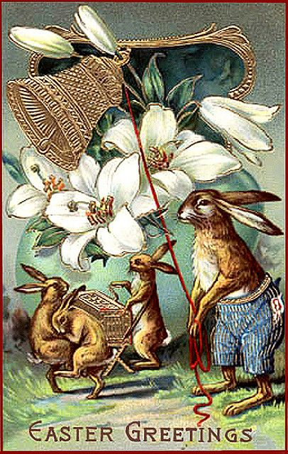 Vintage Easter Postcard--Bunnies Ring Bell--Offspring Dance up a Storm!