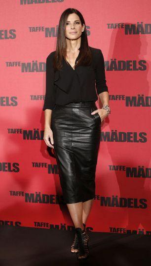 Sandra Bullock in my favorite leather skirt! It's under $100!