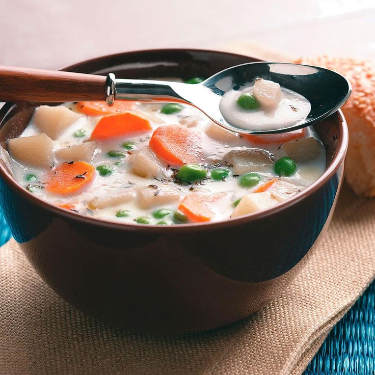 Veggie Potato Soup Recipe -Chock-full of potatoes, this vegetarian soup is as filling as it is flavorful. Serve on cold winter nights with crusty bread or take a thermos-full to work; with this in store, you'll really look forward to lunch! —Hannah Thompson, Scotts Valley, California