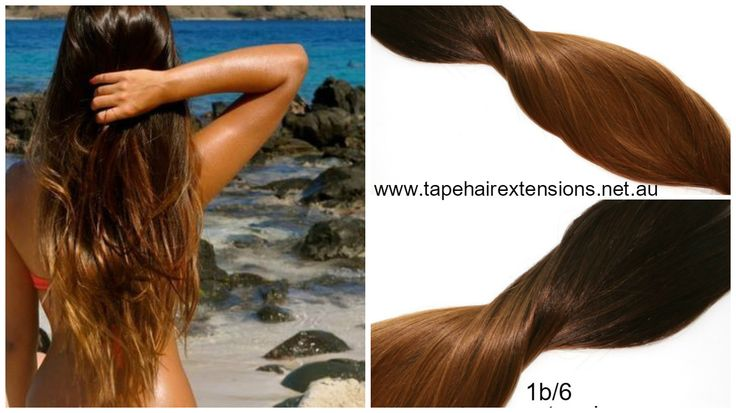 1b/6 - Darkest Brown / Natural Black Balayage Hair Extensions. 100% Pure virgin remy human hair. www.tapehairextensions.net.au
