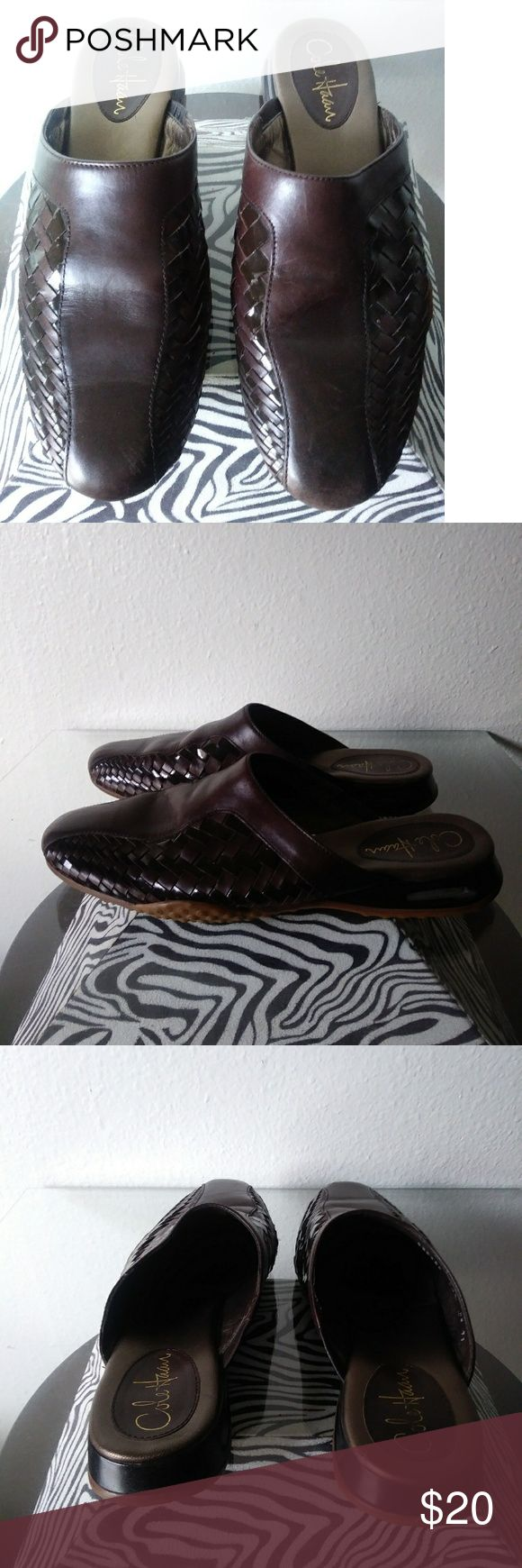 "COLE HAAN basketweave mules Size 8.5, brown leather and rubber sole w/ ""Nike Air"" stamped on bottom; VERY comfortable and virtually new, no wear! Price is flexible, or bundle 4 discount! Cole Haan Shoes Mules & Clogs"