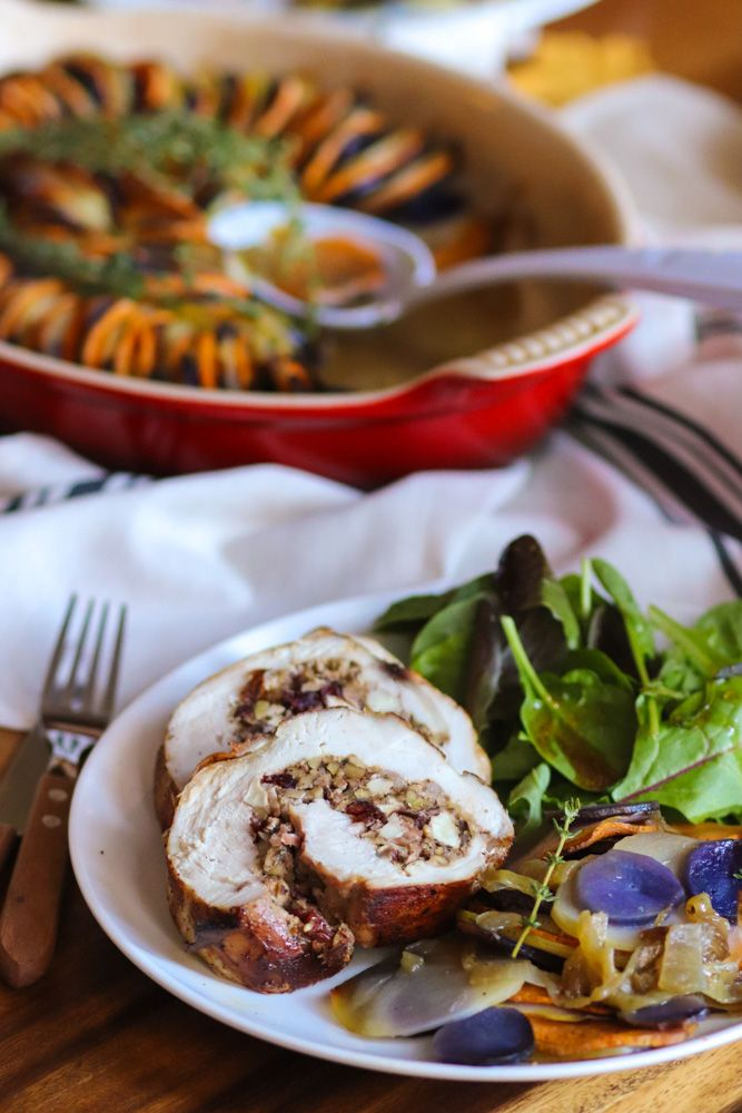 Stuffed turkey breast slices