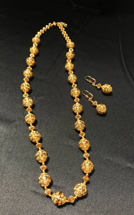 8d5dcc3487699b Indian Jewelry Set - Temple Jewelry - Beaded Ball Mala Set - Gold ...