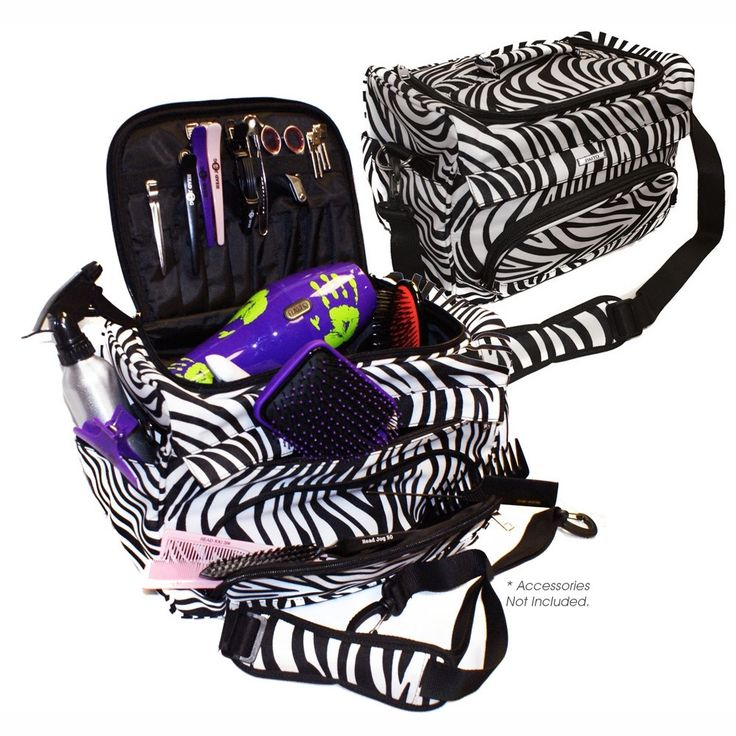 Haito Zebra Tool Case - • The Haito Zebra tool case is designed to hold a variety of styling equipment with it's vast amount of compartments.• The bag has zipped compartments for combs, brushes and clips• Supplied with a matching detachable carry strap.• The main compartment is large enough for a hairdryer, straighteners and clippers• Contents not included  A professional multi-compartment tool carry to help keep your styling tools safe and tidy. Perfect for students and mobile hairdressers…