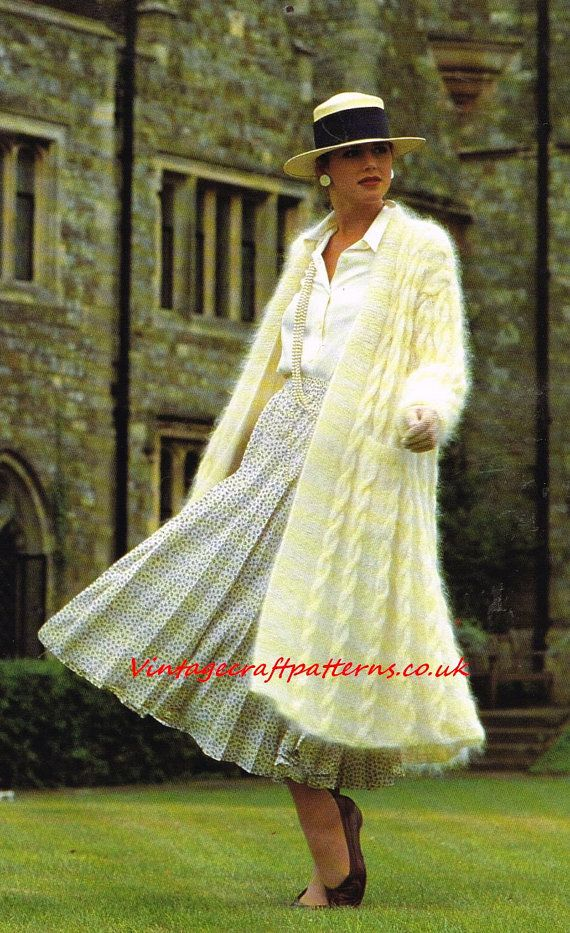 Ladies aran coat in mohair wool    vintage knitting pattern