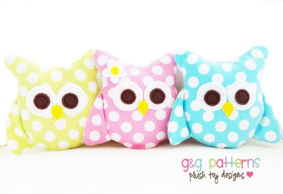 Owl Sewing Pattern - Mini Owls (Party Favors/Ornaments/Baby Mobile) - PDF. $6.00, via Etsy.