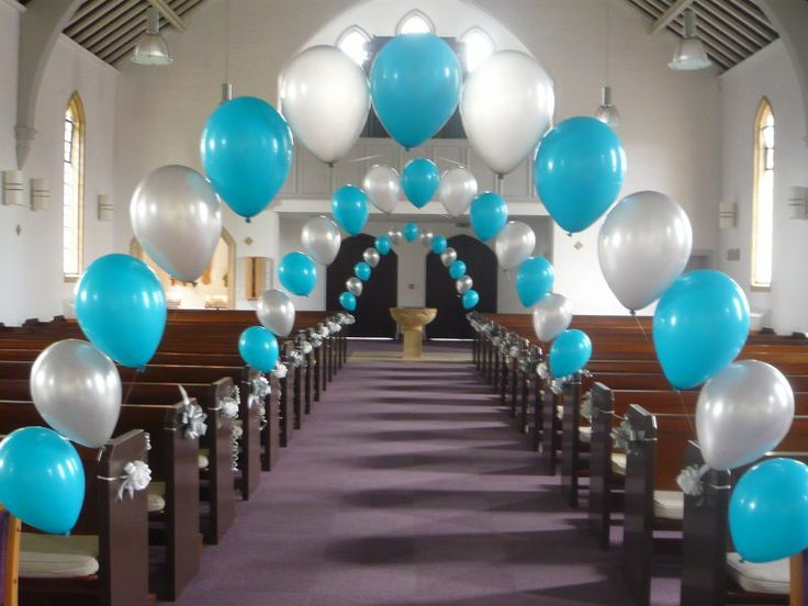 aqua Blue And White Wedding Decorations | Balloon Decorations - Beautiful Flowers, Balloons & Chair Covers