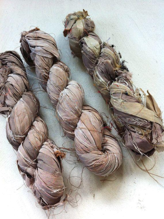 Sari silk ribbon Inspirational yarn Knitting by Crochetmushroom, $11.00