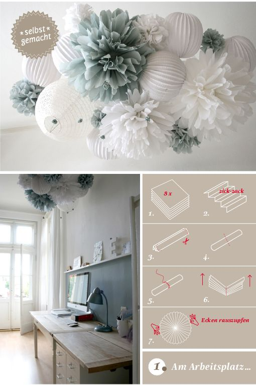 Pom Poms. maybe you can fasten a pom and lantern and lace balloon chandelier for the patio? right in the center of all those columns?